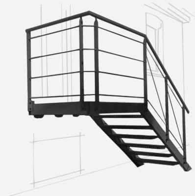 escalier droit métal avec palier métal pour un professionnel à Cagnes