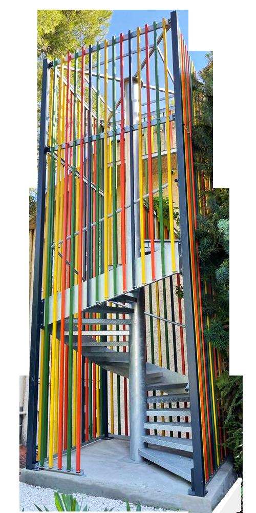 escalier metal ecole Villeneuve-Loubet